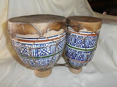 Antique~Nazca~Hand Made & Hand Painted~Ceramic Pottery~Double Drums