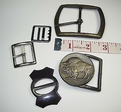 Five Belt Buckles - Lot with Buffalo Nickle and 4 more