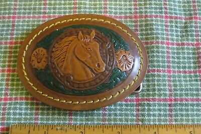 Tooled Leather Oval HORSE HEAD  Belt Buckle
