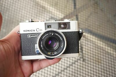 Konica C35 Automatic Rangefinder Film Camera Hexanon 35mm f/2.8 From Japan A2