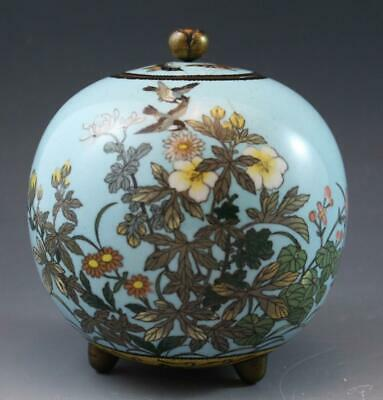 Antique Chinese Cloisonne & Blue Enamel Round Footed jar w/ Flowers & Birds