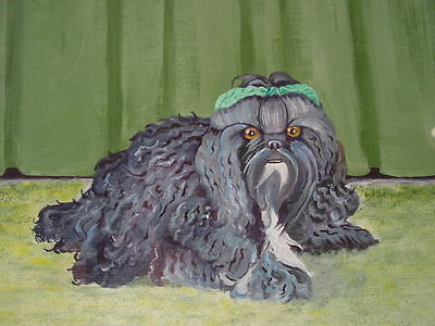 1986 Original  Oil Painting of Shih Tzu  Dog in frame with glass