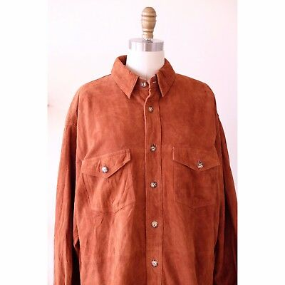 new style 00b7a c44f6 Vintage 90 s Timberland Weathergear Orange Lambskin Leather Shirt Jacket Men