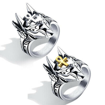 Men's Stainless Steel Animal Finger Ring Punk Anubis Egyptian Cross Ring for Men