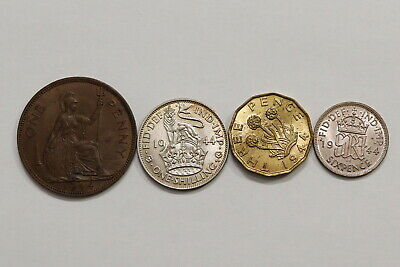 Uk Gb 1944 Coins Lot With Silver All High Grade B10 Yk50