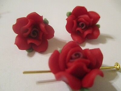 50~14 MM Rouge Fimo Clay Fleur & Feuilles Perles A 404