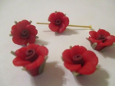 50~12 MM Rouge Fimo Clay Fleur & Feuilles Perles G62