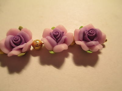 50 Fimo Clay 3 Tone Purple Flower 12 mm Beads 7A3