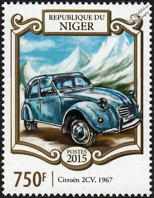 1967 Citroën CITROEN 2CV Car / Automobile / Mountains Stamp (2015 Niger)