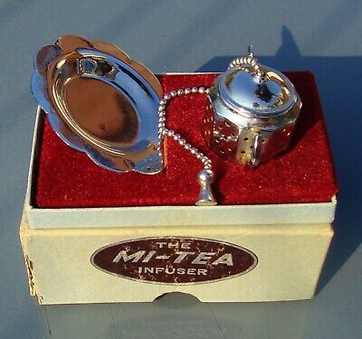 "The ""MI-TEA"" Infuser, chrome, Made in England, original box"