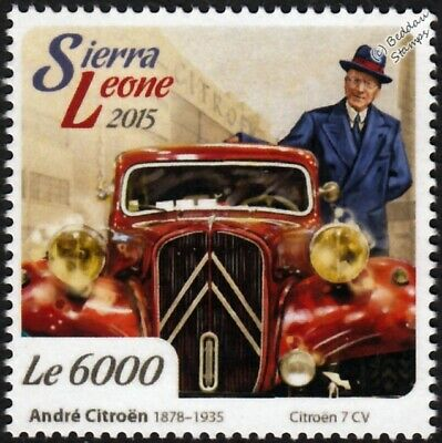 André-Gustave Citroën & CITROEN 7 CV 7CV Traction Avant Classic Car Stamp (2015)