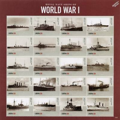 Royal Navy Warships of World War I WWI Ship Stamp Sheet # 1 (2015 Liberia)