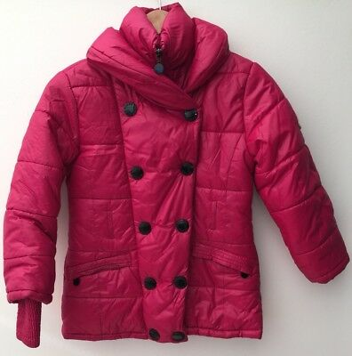 Girls Coat age 12 Bright Pink Puffer Rosso Kids <NH9844