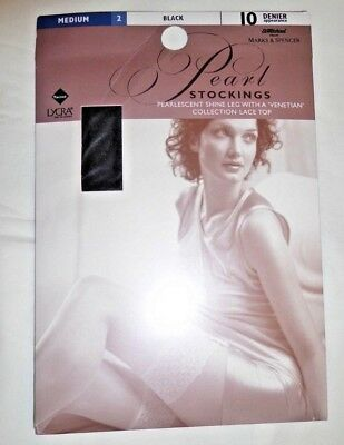 Vintage Pearl Stockings Lace Top Black Medium 10 denier St Michael M&S