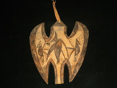 Folk Art:Vintage African Culture:Bird Worship! Hand Carved/Painted Wall Plaque.