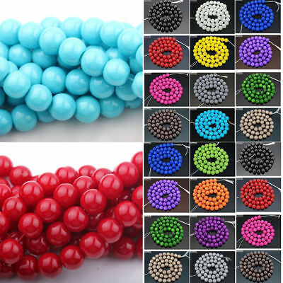 Wholesale50/100 Czech Opaque Coated Glass Pearl Round Beads Jewelry Finding 6mm