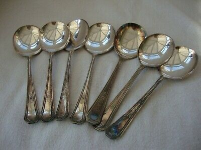Antique Set Of Seven Good Quality Silver Plate Epns Cereal /dessert Spoons