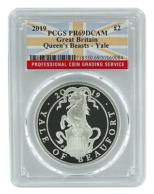 2019 Great Britain 1oz Silver Queens Beast Yale PCGS PR69 DCAM - Flag Label