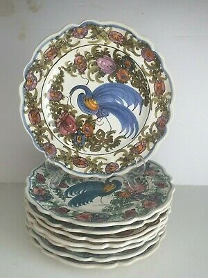 8 K N SKYROS Greece Art Pottery Faience Hand Made Plates Wall Hanging BIRDS 10""