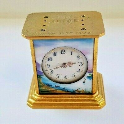Antique Swiss Brevet Hand Painted On Four Panels Gilt MINIATURE Clock