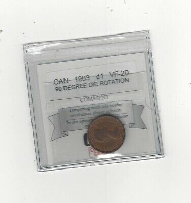 1963  Coin Mart Graded Canadian, Small One Cent, VF-20,  90 Degree Die Rotation