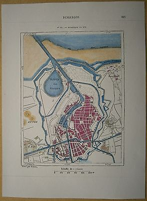 1877 Perron map DUNKIRK DUNKERQUE, FRANCE (#224)