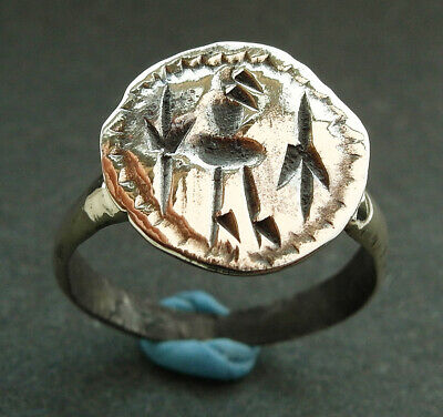 Genuine ancient Viking bronze ring with unusual engraving - wearable