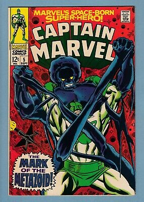 Captain Marvel # 5 Vfn (8.0) Carol Danvers App.- High Grade Cents - White Pages
