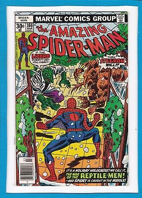 """Amazing Spider-Man #166_March 1977_Vg/f_""""war Of The Reptile-Men""""_Bronze Age!"""