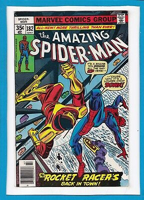 """Amazing Spider-Man #182_July 1978_Vf_""""rocket Racer's Back In Town""""_Bronze Age!"""