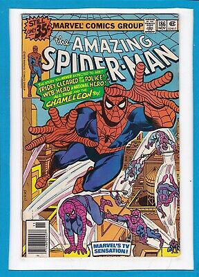 """Amazing Spider-Man #186_November 1978_Fine+_""""chaos Is...the Chameleon""""!"""