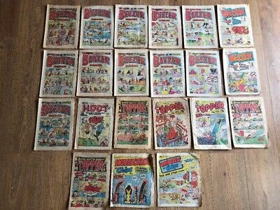 Vintage 1980s UK Comics Beezer The Topper Whizzer & Chips Job Lot Bundle