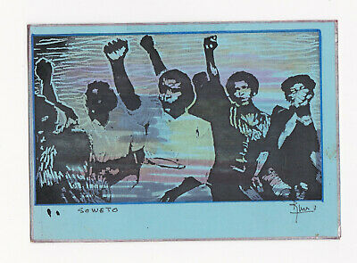 Rare Mail art Hand Made Postcard 'Soweto'- From Pierre Marquer to Harry Fox 1986