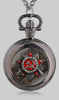 Soviet Logo Black Pocket Watch Mens Union USSR Moscow Vintage Putin Russia Old