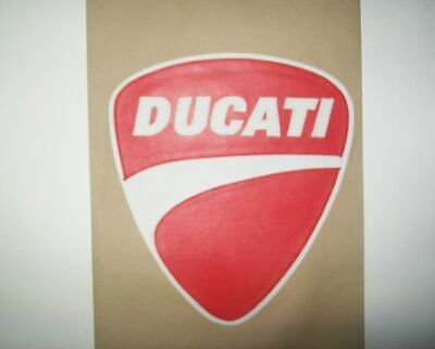 Ducati shield red/white back patch. 10 inches. Synthetic leather. NEW NICE