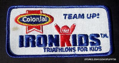"""COLONIAL IRON KIDS TRIATHLON EMBROIDERED SEW ON PATCH TEAM UP BREAD 5"""" x 2 1/2"""""""