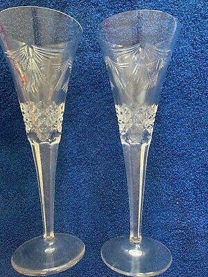 Waterford Champagne Flutes (2). Exc Cond. Free Shipping