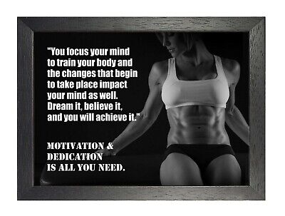 Motivational 2003 Dedication Quote Poster Gym Train Fit Photo Work Hard Print