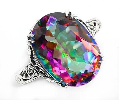 6CT Color Changing Rainbow Topaz 925 Sterling Silver Art Deco Ring Jewelry Sz 6