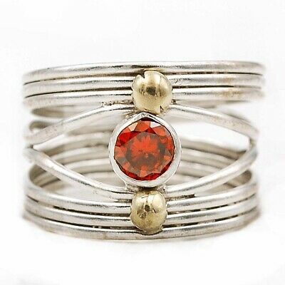 Must Have Two Tone- Fire Garnet 925 Solid Sterling Silver Ring Jewelry Sz 7