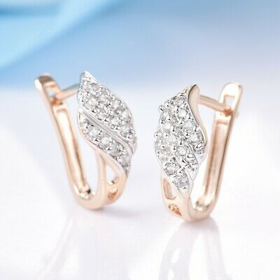 Vintage Women Wedding Party White Sapphire Crystal Gold Small Hoop Earrings