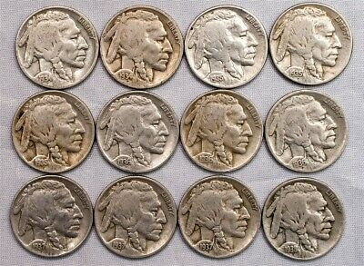 1934-1938-PDS Short Set Buffalo Nickel - 5c Copper-Nickel - 12 Nickels