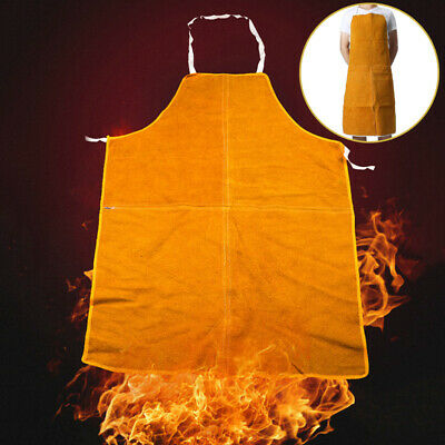1PC Workwear Cowhide Leather Welding Apron Protective Gear Work Safety Yellow