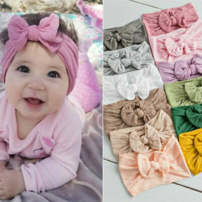 Baby Kids Girls Toddler Turban Solid Headhand Hair Band Bow Accessories Headwear