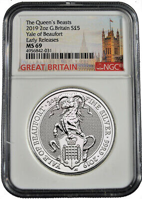 2019 U.K. £5 NGC MS 69 Queens Beast Yale of Beaufort 2 oz .9999 Silver Coin b590