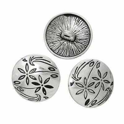 6Pcs Metal Antique Silver Flower Carving Shank Buttons Craft DIY Sewing Supplie
