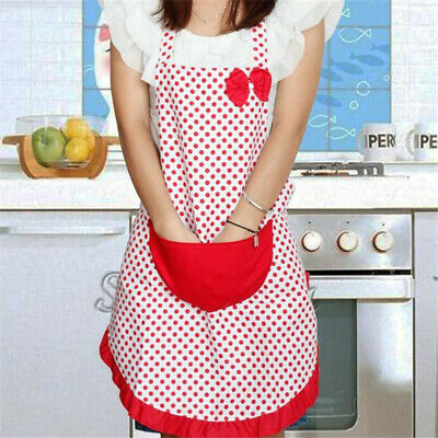 New BowKnot Women Kitchen Restaurant Bib Cooking Aprons With Pocket Gift LG