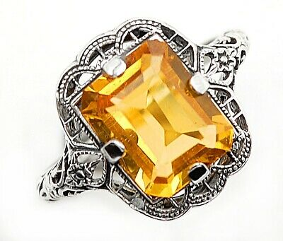 2CT Citrine 925 Solid Sterling Silver Ring Art Nouveau Filigree Jewelry Sz 8