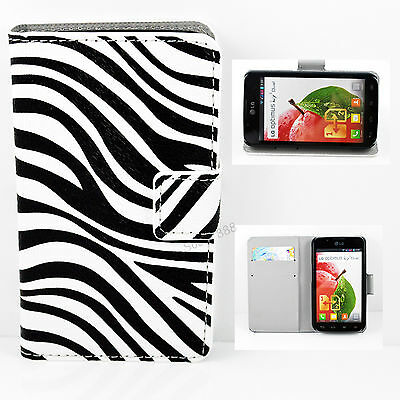 Zebra Lines Leather Flip Stand Cover Card Wallet Case For LG Optimus L7 II P715