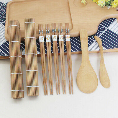 nw Bamboo Sushi Kit Carbonized Rolling Mat Mold-resistant W/Chopsticks 9pc/set